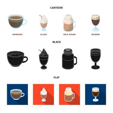 Esprecco, glase, milk shake, bicerin.Different types of coffee set collection icons in cartoon,black,flat style vector symbol stock illustration web.