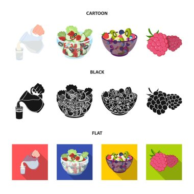 Fruit, vegetable salad and other types of food. Food set collection icons in cartoon,black,flat style vector symbol stock illustration web.