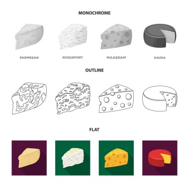 Parmesan, roquefort, maasdam, gauda.Different types of cheese set collection icons in flat,outline,monochrome style vector symbol stock illustration web.