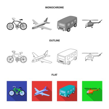 Bicycle, airplane, bus, helicopter types of transport. Transport set collection icons in flat,outline,monochrome style vector symbol stock illustration web.