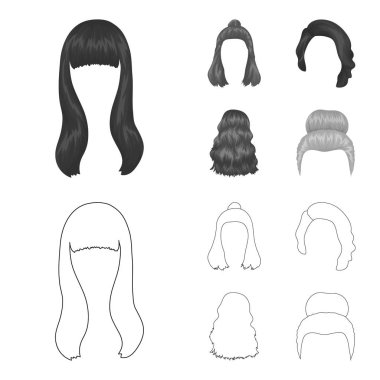 Long, red and other types of hairstyles. Back hairstyle set collection icons in outline,monochrome style vector symbol stock illustration web.