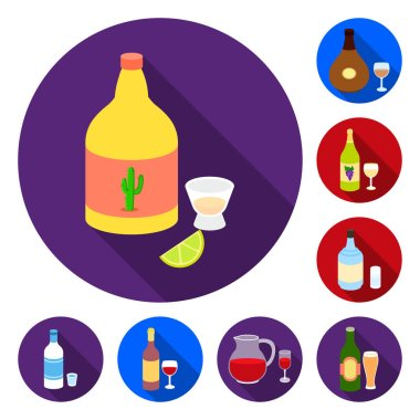 Types of alcohol flat icons in set collection for design. Alcohol in bottles vector symbol stock web illustration.
