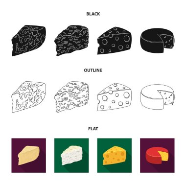 Parmesan, roquefort, maasdam, gauda.Different types of cheese set collection icons in black,flat,outline style vector symbol stock illustration web.