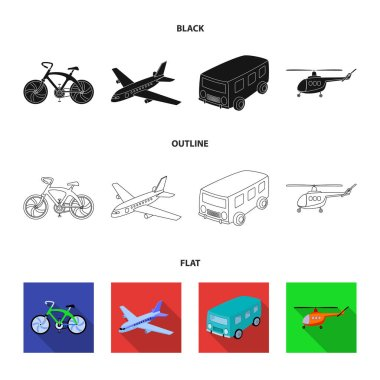 Bicycle, airplane, bus, helicopter types of transport. Transport set collection icons in black,flat,outline style vector symbol stock illustration web.