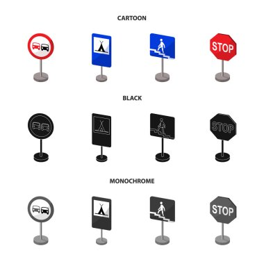 Different types of road signs cartoon,black,monochrome icons in set collection for design. Warning and prohibition signs vector symbol stock web illustration.
