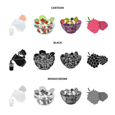 Fruit, vegetable salad and other types of food. Food set collection icons in cartoon,black,monochrome style vector symbol stock illustration web.