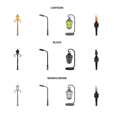 Lamppost in retro style,modern lantern, torch and other types of streetlights. Lamppost set collection icons in cartoon,black,monochrome style vector symbol stock illustration web.