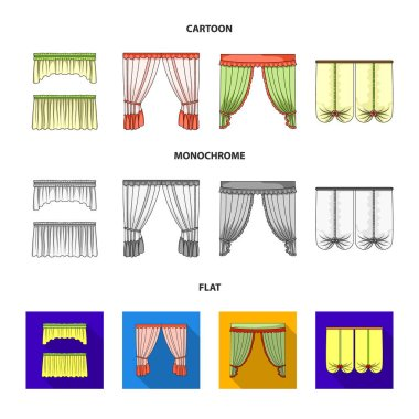 Different types of window curtains.Curtains set collection icons in cartoon,flat,monochrome style vector symbol stock illustration web.