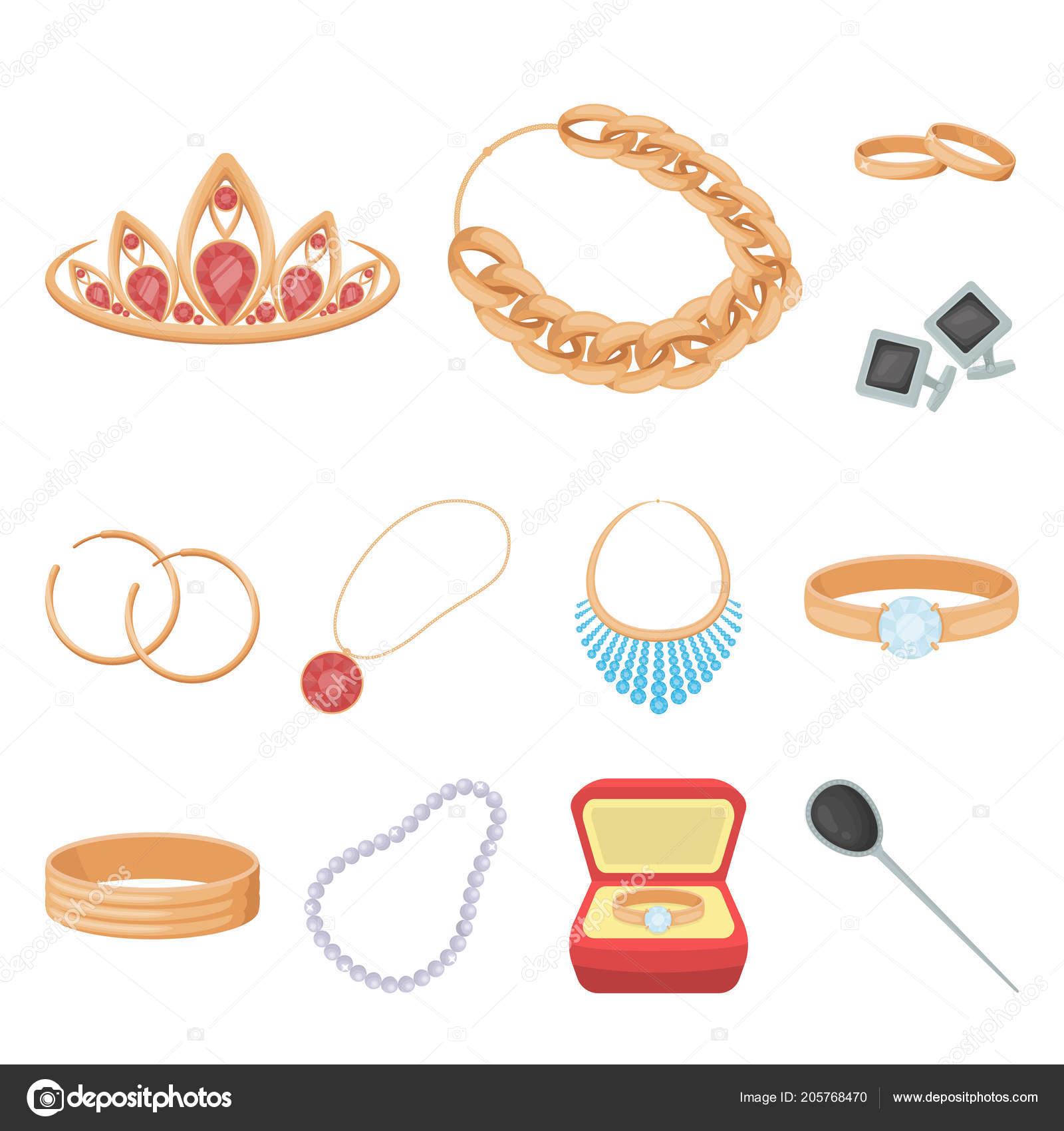 Bijoux Dessin bijoux et accessoires de dessin animé des icônes dans la collection