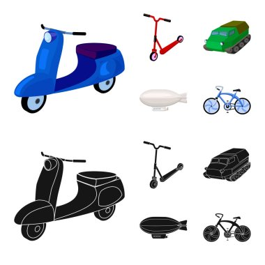 Motorcycle, scooter, armored personnel carrier, aerostat types of transport. Transport set collection icons in cartoon,black style vector symbol stock illustration web.