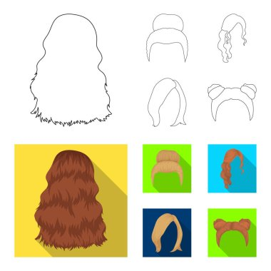 Blond with a bunch, red wavy and other types of hair. Back hair set collection icons in outline,flat style vector symbol stock illustration web.