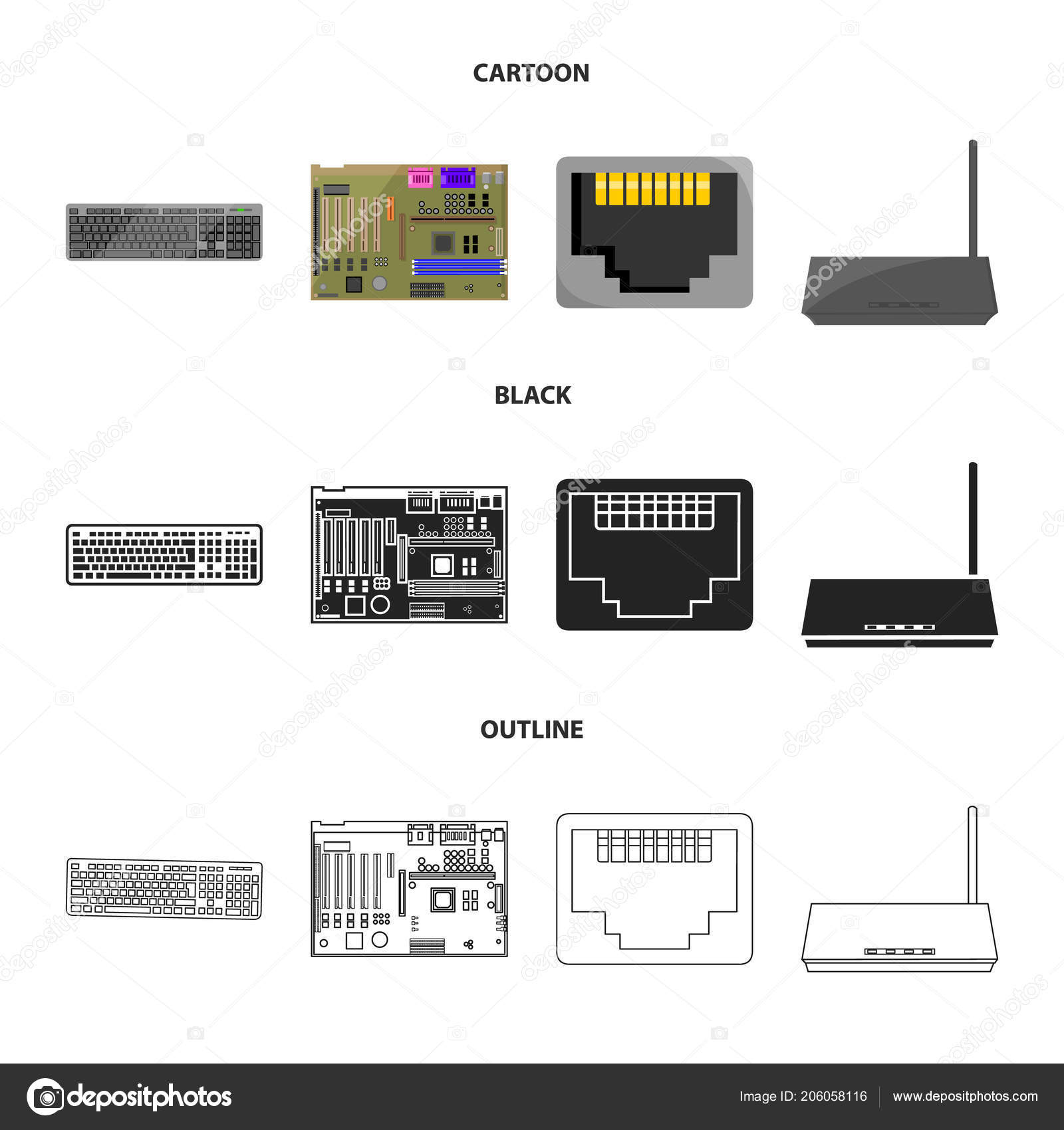 keyboard, router, motherboard and connector personal computer set Advanced Motherboard Diagram with Labels