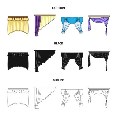 Different types of window curtains.Curtains set collection icons in cartoon,black,outline style vector symbol stock illustration web.