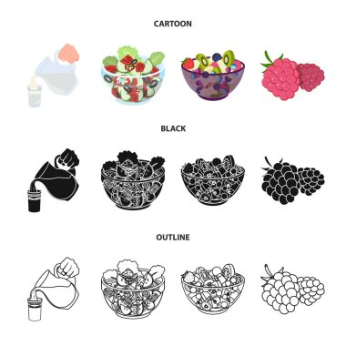 Fruit, vegetable salad and other types of food. Food set collection icons in cartoon,black,outline style vector symbol stock illustration web.