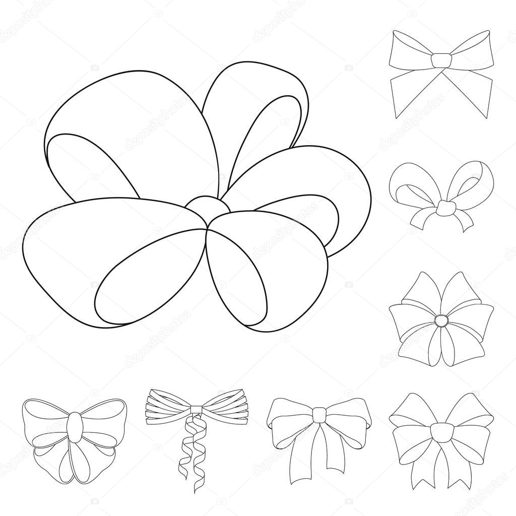Multicolored bows outline icons in set collection for design.Bow for decoration vector symbol stock web illustration.