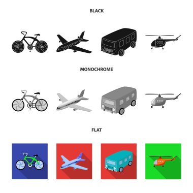 Bicycle, airplane, bus, helicopter types of transport. Transport set collection icons in black, flat, monochrome style vector symbol stock illustration web.