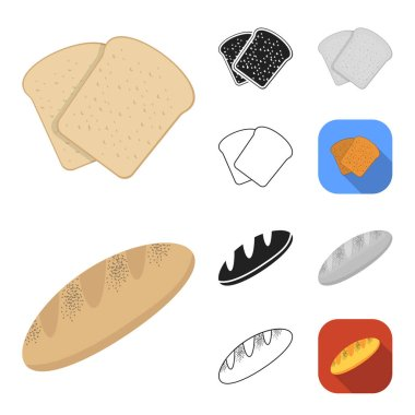 Types of bread cartoon,black,flat,monochrome,outline icons in set collection for design. Bakery products vector symbol stock web illustration.