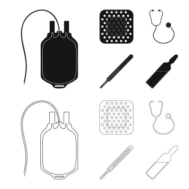Package with donor blood and other equipment.Medicine set collection icons in black,outline style vector symbol stock illustration .