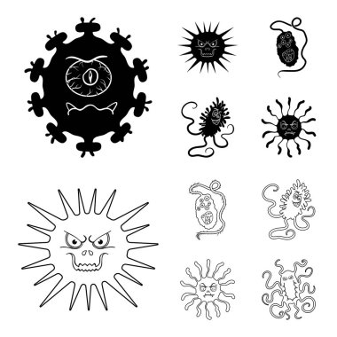 Different types of microbes and viruses. Viruses and bacteria set collection icons in black,outline style vector symbol stock illustration web.