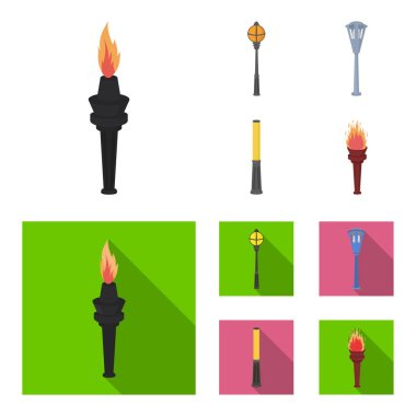 Lamppost in retro style, modern lantern, torch and other types of streetlights. Lamppost set collection icons in cartoon,flat style vector symbol stock illustration web.