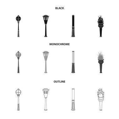 Lamppost in retro style, modern lantern, torch and other types of streetlights. Lamppost set collection icons in black,monochrome,outline style vector symbol stock illustration web.