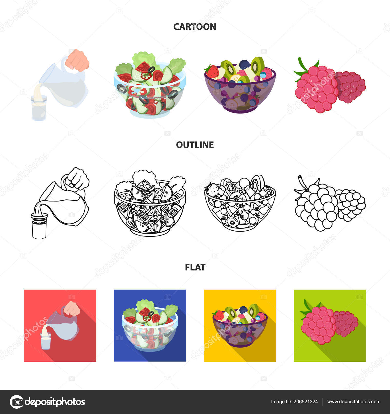Fruit Vegetable Salad And Other Types Of Food Food Set Collection