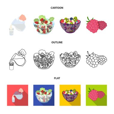 Fruit, vegetable salad and other types of food. Food set collection icons in cartoon,outline,flat style vector symbol stock illustration web.