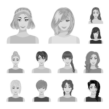 Types of female hairstyles monochrome icons in set collection for design. Appearance of a woman vector symbol stock  illustration.