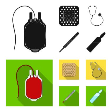 Package with donor blood and other equipment.Medicine set collection icons in black, flat style vector symbol stock illustration web.