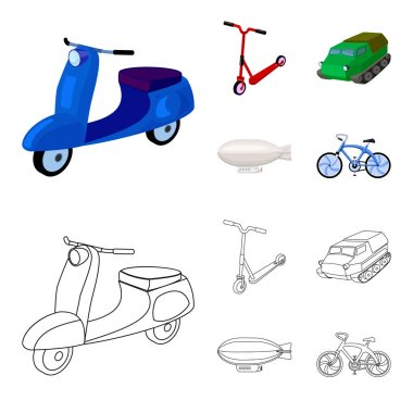 Motorcycle, scooter, armored personnel carrier, aerostat types of transport. Transport set collection icons in cartoon,outline style vector symbol stock illustration web.