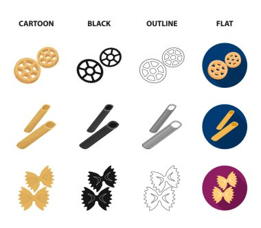 Different types of pasta. Types of pasta set collection icons in cartoon,black,outline,flat style vector symbol stock illustration web.