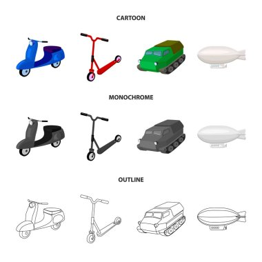 Motorcycle, scooter, armored personnel carrier, aerostat types of transport. Transport set collection icons in cartoon,outline,monochrome style vector symbol stock illustration web.