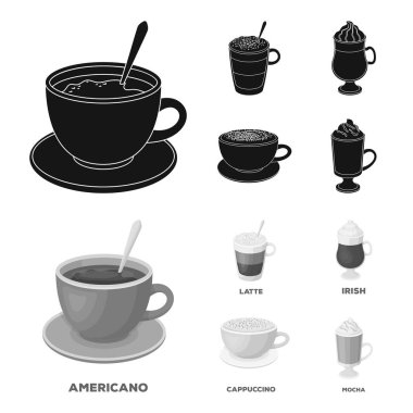 American, late, irish, cappuccino.Different types of coffee set collection icons in black,monochrom style vector symbol stock illustration web.