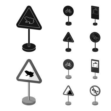 Different types of road signs black,monochrom icons in set collection for design. Warning and prohibition signs vector symbol stock web illustration.