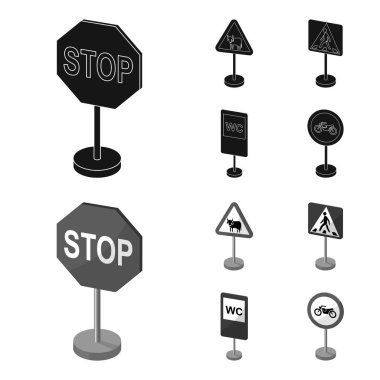 Different types of road signs black,monochrome icons in set collection for design. Warning and prohibition signs vector symbol stock web illustration.