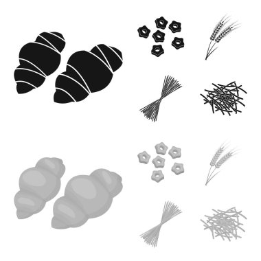 Different types of pasta. Types of pasta set collection icons in black,monochrom style vector symbol stock illustration web.