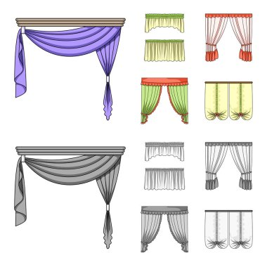 Different types of window curtains.Curtains set collection icons in cartoon,monochrome style vector symbol stock illustration web.