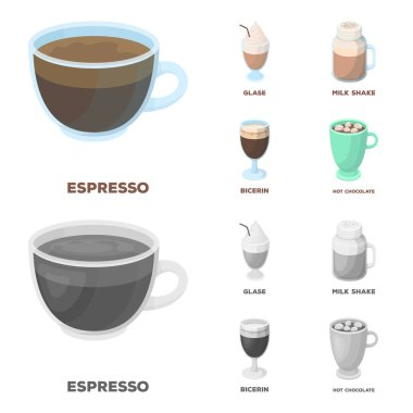 Esprecco, glase, milk shake, bicerin.Different types of coffee set collection icons in cartoon,monochrome style vector symbol stock illustration web.