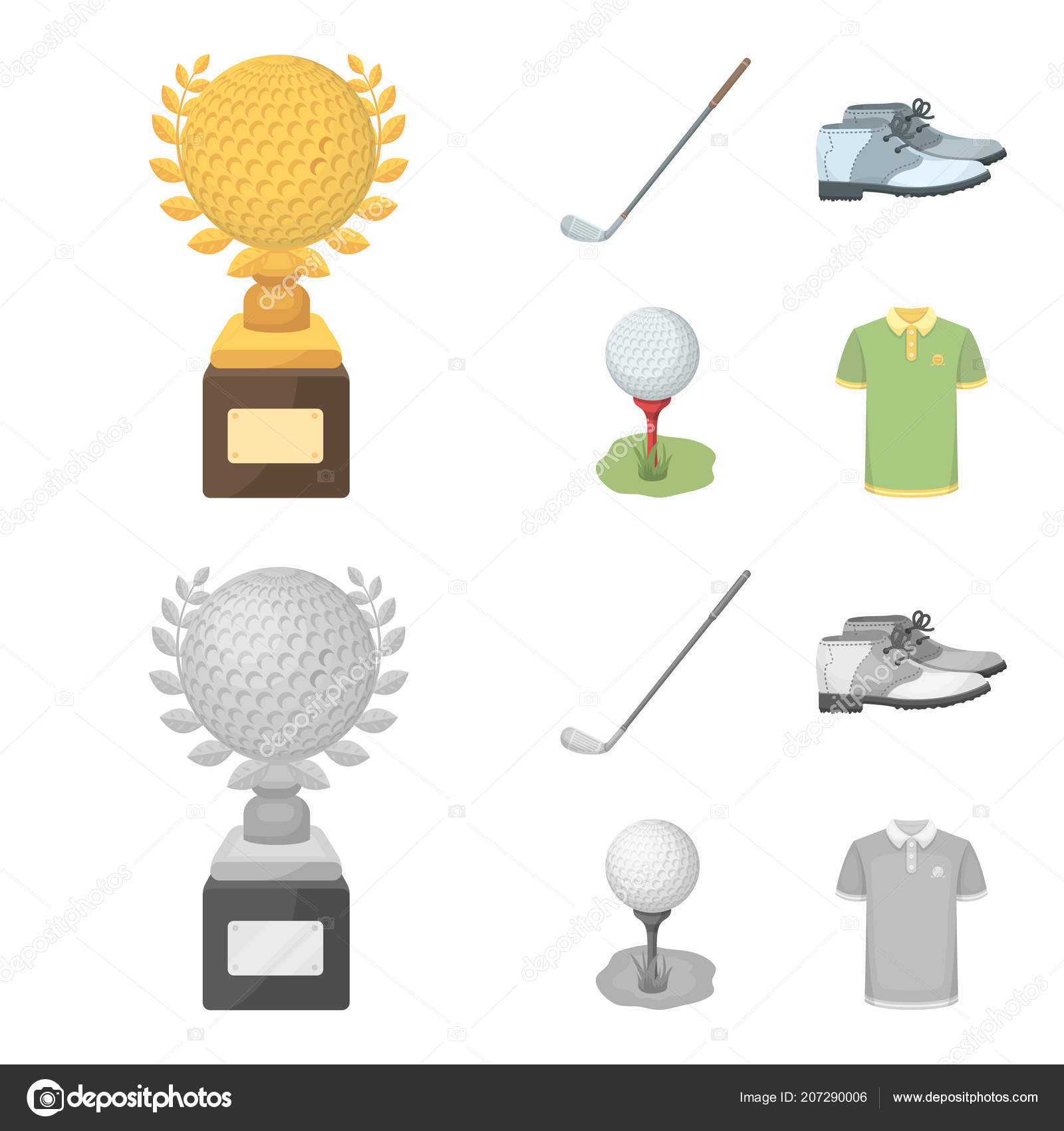 Cup Golf Club Ball Stand Golfer Shoes Golf Club Set Stock Vector C Pandavector 207290006