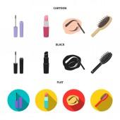 Wimperntusche, Haarbürste, Lippenstift, Augenbrauenstift, Make-up-Set Sammlung Symbole in Cartoon, schwarz, flachen Stil Vektor Symbol Stock Illustration Web.