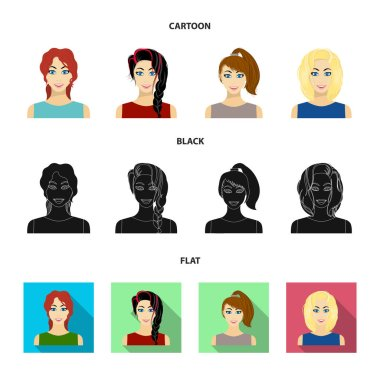 Types of female hairstyles cartoon,black,flat icons in set collection for design. Appearance of a woman vector symbol stock web illustration.