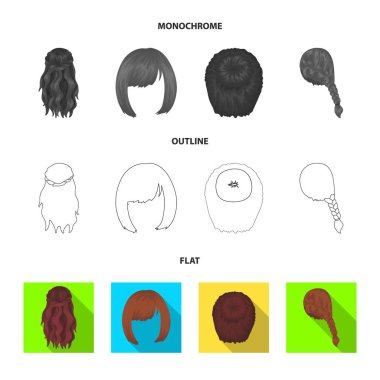 Kara, red braid and other types of hairstyles. Back hairstyle set collection icons in flat,outline,monochrome style vector symbol stock illustration web.