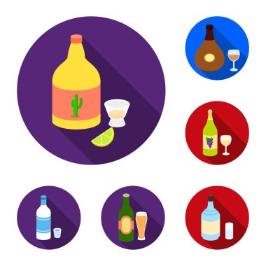 Types of alcohol flat icons in set collection for design. Alcohol in bottles vector symbol stock  illustration.