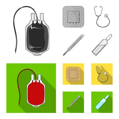 Package with donor blood and other equipment.Medicine set collection icons in monochrome,flat style vector symbol stock illustration web.