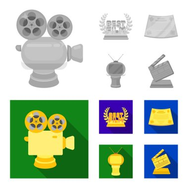 Silver camera. A bronze prize in the form of a TV and other types of prizes.Movie award,sset collection icons in monochrome,flat style vector symbol stock illustration web.
