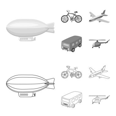 Bicycle, airplane, bus, helicopter types of transport. Transport set collection icons in outline,monochrome style vector symbol stock illustration web.