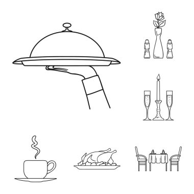 Restaurant and bar outline icons in set collection for design. Pleasure, food and alcohol vector symbol stock web illustration.