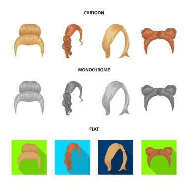 Blond with a bunch, red wavy and other types of hair. Back hair set collection icons in cartoon,flat,monochrome style vector symbol stock illustration web.