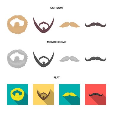 Mustache and beard, hairstyles cartoon,flat,monochrome icons in set collection for design. Stylish haircut vector symbol stock web illustration.
