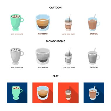Ristretto, hot chocolate, latte take-away.Different types of coffee set collection icons in cartoon,flat,monochrome style vector symbol stock illustration web.